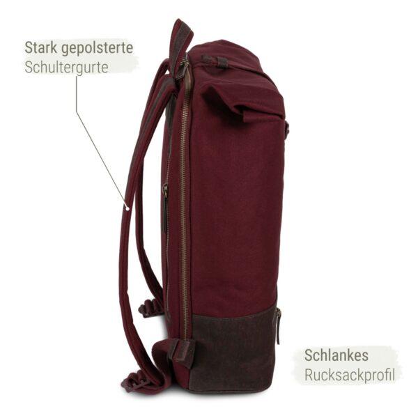 weinroter Rucksack mit Rolltop aus Kork