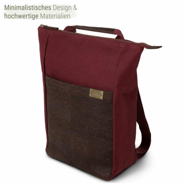 nachhaltiger Rucksack aus Kork in rot