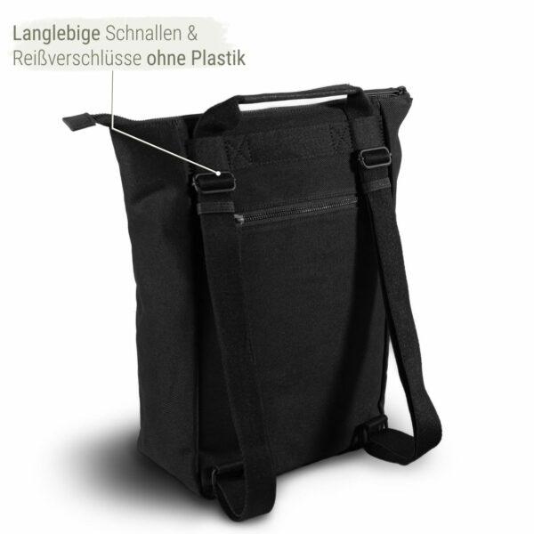 All black rucksack nachhaltig