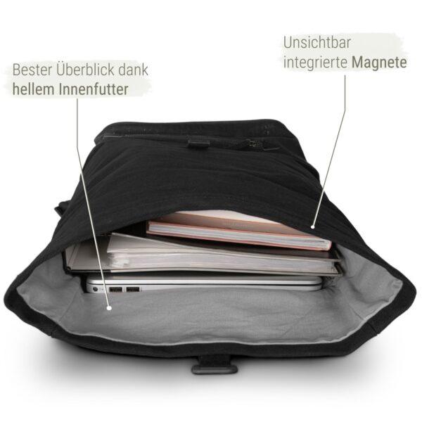 nachhaltiger Rolltop Rucksack in schwarz