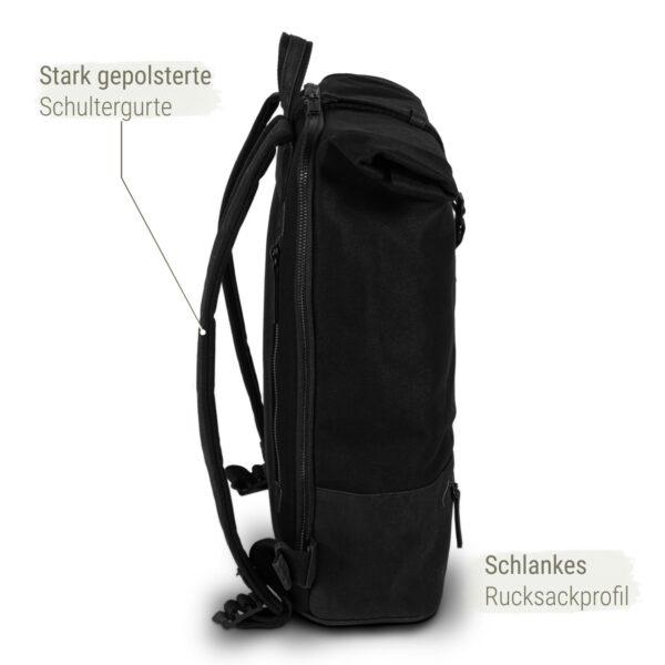All Black Rolltop Rucksack